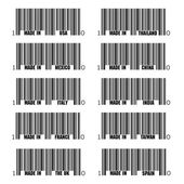 Set of black barcode of Made In symbols, including Italy, France, USA, UK, Spain, Thailand, China, India, Taiwan, Italy — Stock Vector