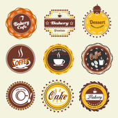 Set of vintage coffee and bakery badges and labels — Stock Vector
