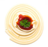 Spaghetti, sauce and parsley on white background — Stock Photo
