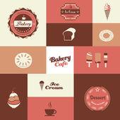 Bakery and ice cream shop retro background — Stock Vector