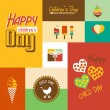 Happy children's day card with font, typography — Stock Vector