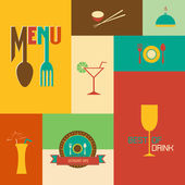 Set of Retro style restaurant menu design — Stock Vector