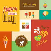 Happy children's day card with font, typography — Vector de stock