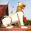 Lion guard statues in Thai temple, Sangkhlaburi, Kanchanaburi, T — Stock Photo #26516949