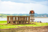 Ancient temple expose from river dry, sangkhlaburi, thailand — Stock Photo