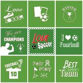 Fond de football avec des polices, typographie — Vecteur