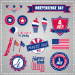 Stock Vector: Set of design elements for Independence Day, July 4