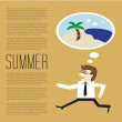 Businesses will vacation in summer to the beach — Stock Vector