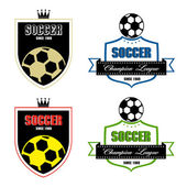 Soccer badge, Soccer labels, Soccer emblems — Stock Vector