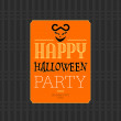 Stock Vector: Happy Halloween party greeting card, vector illustration