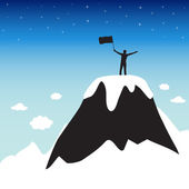 Silhouette of man on top the high mountain — Stock Vector