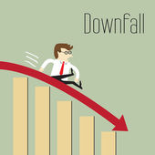 Downfall, Chart going through the floor, Business decline — Stock Vector