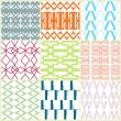 Retro different vector seamless patterns — Stock Vector