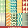Collection of retro seamless patterns for making wallpapers — Stock Vector