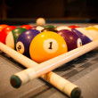 Billiard balls on pool table — Stock Photo