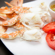Meat of crabs legs on the plate — Stock Photo
