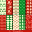 Stock Vector: Christmas patterns collection set for making seamless wallpapers