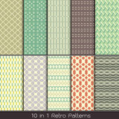Retro fashion patterns collection set for making seamless wallpapers — Stock Vector