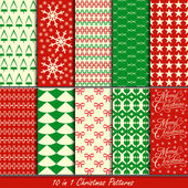 Christmas patterns collection set for making seamless wallpapers — Stock Vector