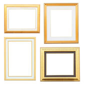 Gold and wood frame Collection on white background — Stock Photo