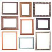 Wood frame Collection on white background — Stock Photo
