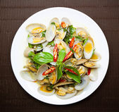 Stir fried clams with roasted chili paste, Thai food — Stock Photo