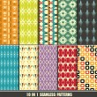 Set of retro seamless pattern for making wallpaper — Stock vektor