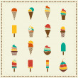 Vintage retro ice cream icons — Stockvector