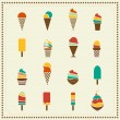 Vintage retro ice cream icons — Stock Vector