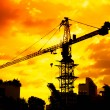 Stock Photo: Silhouettes of Industrial construction crane
