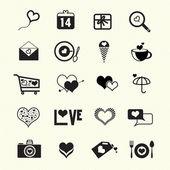 Valentine day love icons — Stock Vector