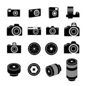 Camera Icons and Camera lens Icons — Stock Vector