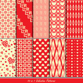 Valentine patterns collection set for making seamless wallpapers — Stock Vector