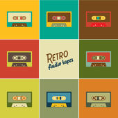 Retro audio tapes, Vector illustration — Stock Vector