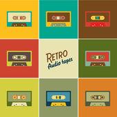 Retro audio tapes, Vector illustration — Stock Vector