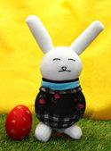 Rabbit doll from sock handmade and easter egg — Stock Photo
