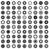Collection of gear wheels isolated on white background — Vecteur