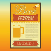 Beer Festival poster, Retro style, Vector illustration — Stock Vector