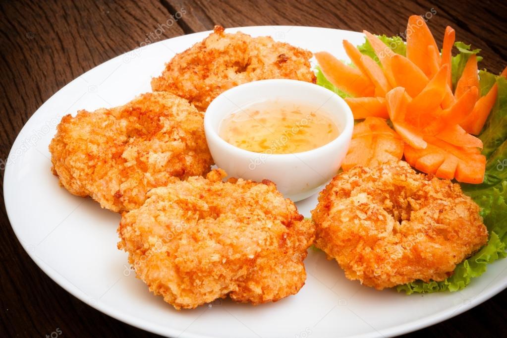 Fried shrimp cake, Thai food — Stock Photo © comzeal #45034129
