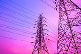 High voltage post and sky in twilight time — Stock Photo