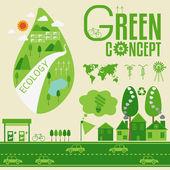 Ekologi infographic och grönt koncept — Stockvektor