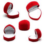 Rood juwelenkistje geïsoleerd op witte achtergrond — Stockfoto