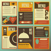 Restaurant menu designs. Collection of retro-style vector illust — Stock Vector