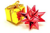 Christmas star and gold gift — Stock Photo