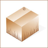 Box with grass, cardboard from organic raw materials, brown, clo — Stock Photo