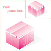 Box, cardboard for pink jeans or pants packing, with denim line — Stock Photo