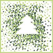 緑の背景にアウトライン ツリーをクリスマス カード — ストックベクタ