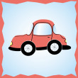 Car, red color in the old style — Stock Vector