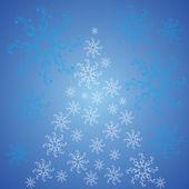 Christbaumschmuck mit schneeflocken auf eine blaue rückseite — Stockvektor