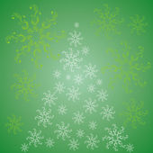 Christmas tree ornaments with snowflakes on a green back — ストックベクタ